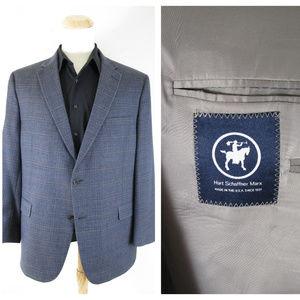Hart Schaffner Marx Blue Windowpane Sport Coat
